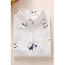 White All Over Cartoon Cactus Pattern Long Sleeve Lapel Collar Button Down Shirt