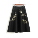 Elegant Elastic Waist Zip Side Floral Embroidered Midi A-Line Skirt