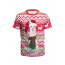 Lovely Cartoon Christmas Deer Printed Round Neck Short Sleeve Red Fitted T-Shirt