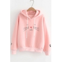 Funny Cartoon Cat Printed Long Sleeve Leisure Hoodie
