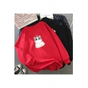 Lovely Cartoon Cat Printed Long Sleeve Round Neck Thick Sweatshirt