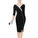 Sexy 3/4 Length Sleeve V Neck Contrast Trim Button Embellished Bodycon Mini Black Dress
