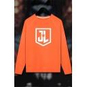 Simple Letter JL Printed Long Sleeve Round Neck Leisure Unisex Sweatshirt