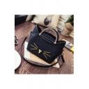 Fashion Cartoon Cat Printed Zip Closure PU Handbag Shoulder Bag
