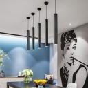 Cylinder LED Pendant Lighting Contemporary Aluminum 1 Light Track Lights in Black Finish