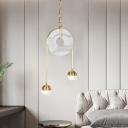 Post Modern Marble Chandelier 2 Light Glass Globe LED Pendant Light in Gold Finish