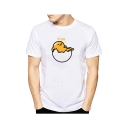 New Arrival Lovely Cartoon Egg Printed Crewneck Short Sleeve White Graphic Tee