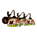 Stained Glass Flower Wall Sconce Tiffany Country Style 3 Lights Lighting Fixture in Multicolor