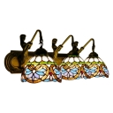 Tiffany Victorian Dome Sconce Light Stained Glass 3 Head Decorative Wall Light in Multicolor