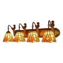 Flower Pattern Lighting Fixture Tiffany Stained Glass 4 Light Sconce Light in Beige