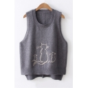 Round Neck Sleeveless Cute Cartoon Cat Printed High Low Knit Sweater Vest