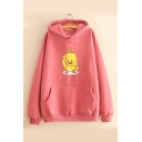 Dark Pink Cotton Chick Cartoon Print Long Sleeves Pullover Hoodie with Pocket