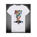 Fancy Colorful Letter Print Round Neck Short Sleeves Casual Tee