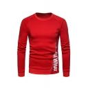 Red Cotton Blends Letter Print Zip Design Round Neck Long Sleeves Pullover Sweatshirt