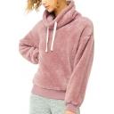 Drawstring Turtleneck Dropped Shoulder Plain Fluffy Pullover Sweatshirt