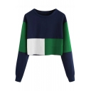 Leisure Long Sleeve Round Neck Colorblock Cropped Pullover Sweatshirt