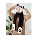 Winter's Warm Cartoon Panda Design Woolen Gloves Earflap Hooded Scarf Head scarf