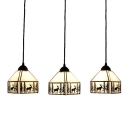 Lodge Tiffany Elk Drop Light Beige Glass 3 Heads Suspended Lamp in Bronze Finish for Bedroom
