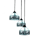 Aqua Elk Ceiling Pendant Lamp Tiffany Lodge Style Stained Glass 3 Lights Pendant Light