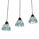 Peacock Hanging Light Tiffany Style Blue Glass 3 Heads Suspended Lamp for Restaurant