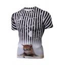 Digital Stripe Cat Pattern Crwneck Short Sleeve Casual Tee
