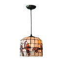 Tiffany Style Parrot Pendant Light Shelly 1 Light Accent Hanging Lamp in Beige for Bedroom