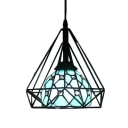 Tiffany Modern Jeweled Hanging Lamp Blue/White Glass Pendant Light with Diamond Cage