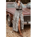 New Trendy Snake Pattern V-Neck Long Sleeve Split Front Maxi A-Line Flowy Shirt Dress
