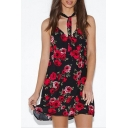 Red Sleeveless Halter Floral Printed Mini Shift Dress