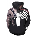 New Stylish 3D Spider Printed Long Sleeve Black Hoodie