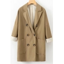Classic Camel Notched Lapel Collar Long Sleeve Double-Breasted Longline Blazer Coat