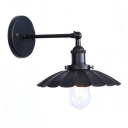 1 Light Shallow Round Flared Wall Sconce Vintage Iron Lighting Fixture for Balcony
