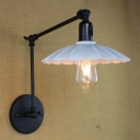 Metal Scalloped Wall Lamp Vintage 1 Light Wall Lamp in White with Adjustable Arm