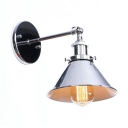 1 Light Conical Wall Lamp Metal Loft Style Metal Wall Sconce in Chrome/Nickel for Bedside