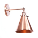 Copper Finish Cone Wall Light Retro Style Metal 1 Head Lighting Fixture for Living Room