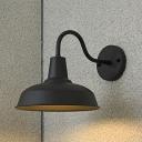 Steel Barn Wall Light Sconce Loft Style Single Light Wall Lighting in Black with Gooseneck