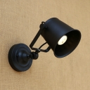 Cup Shade Wall Mount Light Industrial Rotatable Steel Single Bulb Wall Sconce in Black