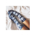 Winter's New Trendy Cotton Warm Tie-dyed Maple Leaves Pattern Sports Socks