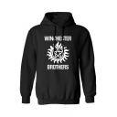 Hip Hop Style Long Sleeve Letter WINCHESTER BROTHERS Printed Casual Oversize Hoodie