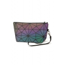 Laser PVC Geometric Zip Closure Wrist Bag Cosmetic Bag