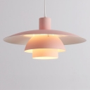 Industrial 3 Layer Ceiling Light Aluminum Drop Light in Pink for Hallway Children Room