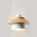 Conical Shade Suspension Light Modern Simple Wood Ceiling Lamp in Cream White