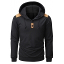 Men's Fashion Contrast Suede Patchwork Shoulder Long Sleeve Button Embellished Regular Fitted Hoodie
