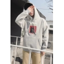 Men's Fashion Letter VERY CUTE CAT Printed Long Sleeve Regular Fitted Drawstring Hoodie