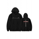 Unique Letter WORLD TOUR Print Front Cross Letter Back Relaxed Casual Hoodie