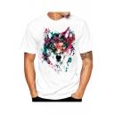 3D Digital Dog Printed Short Sleeve Round Neck White T-Shirt for Men