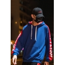 Street Style Fashion Colorblock Letter STYLISH Print Long Sleeve Box Relaxed Unisex Hoodie
