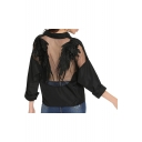 Hot Trendy Feather Wing Embellished Sheer Back Long Sleeve Lapel Collar Button Down Knot Front Cropped Black Shirt