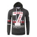 Stylish Letter SEVEN Number 7 Printed Long Sleeve Slim Fitted Men's Pullover Hoodie