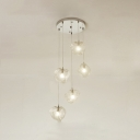 Modern Design Cluster Pendant Lamp Glass 5 Light Drop Light for Dining Room Bar Counter
